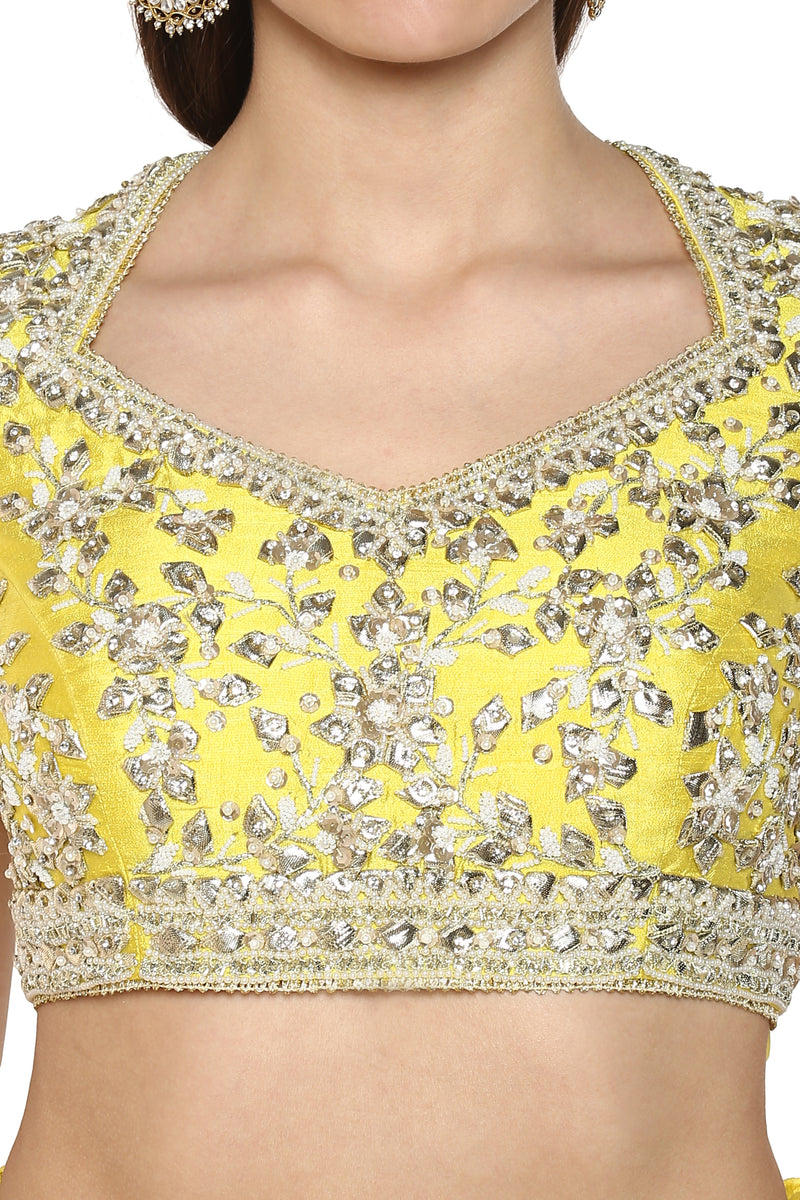 Bright Yellow Embroidered Lehenga Set