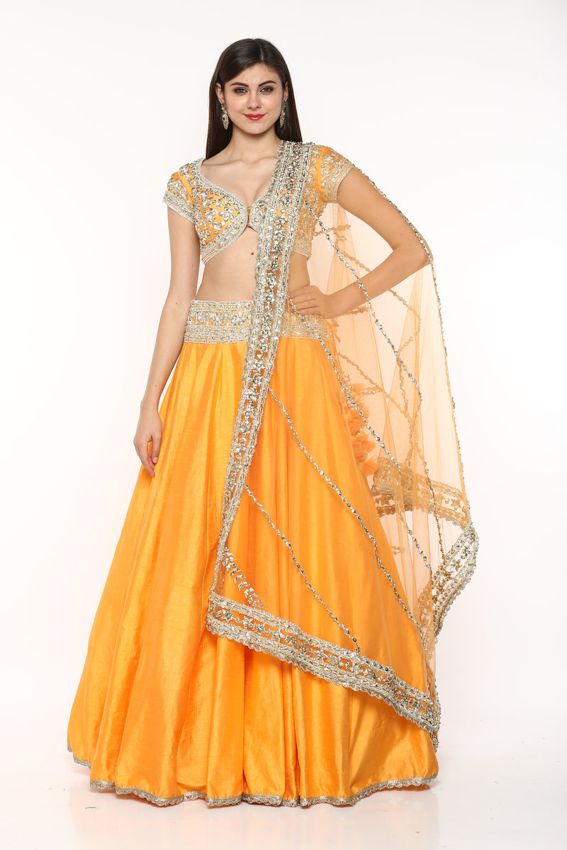 Orange Embroidered Lehenga Set