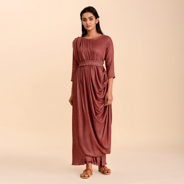 Rosewood Printed Double Draped Gown