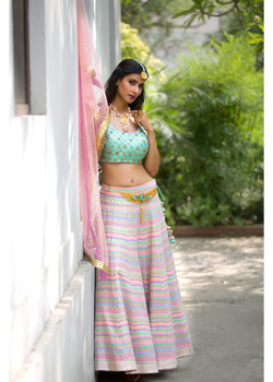 The Tahitian Breeze Aqua Lehenga
