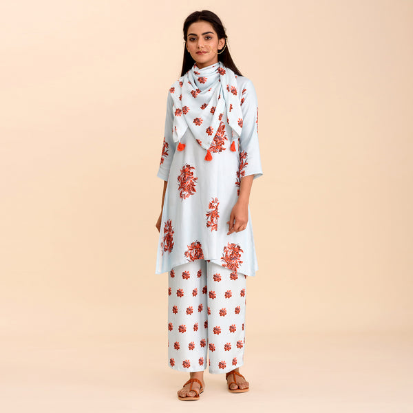 Sky Blue Printed A-Line Short Kurta Set