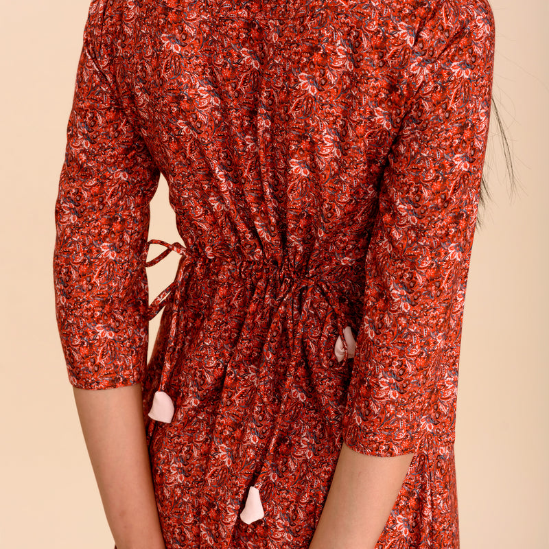 Carnelian Red Printed Dhoti Jumpsuit
