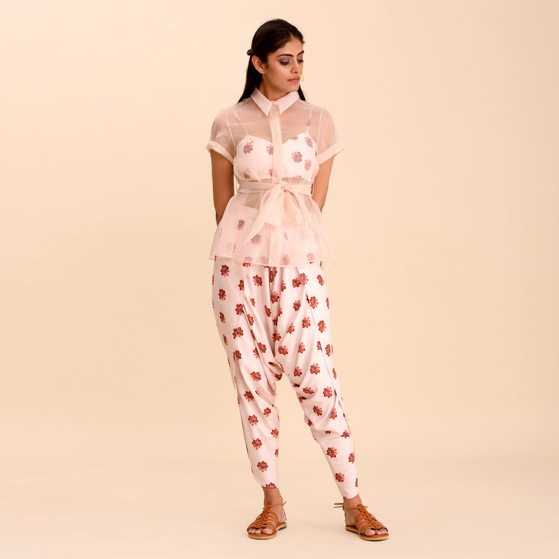 Powder Pink Printed Dhoti Pants & Shirt Set