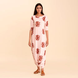 Powder Pink Printed Signature Dhoti Jumpsuit