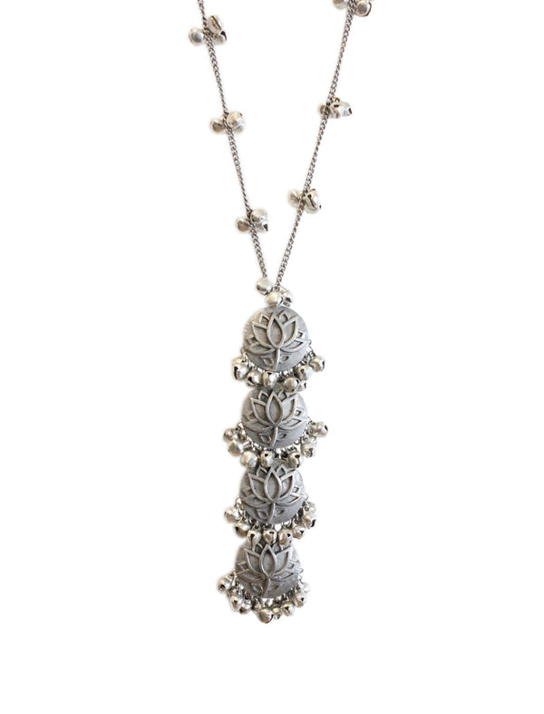 Enchanted Lotus Silver Long Necklace