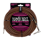 Ernie Ball 25FT Braided Orange/Black Instrument cable Straight to Right Angle