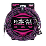 Ernie Ball 25FT Braided Purple/Black Instrument cable Straight to Right Angle