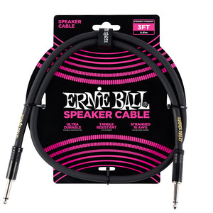 Ernie Ball 3FT Black Speaker cable Straight to Straight