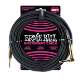 Ernie Ball 10FT Braided Black Instrument cable Straight to Angle
