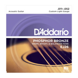 D'Addario EJ26 Phosphor Bronze Acoustic Guitar Strings, Custom Light, 11-52