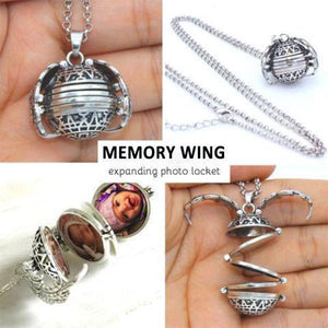 Memory Wing - Pendant Expanding Photo Locket Necklace