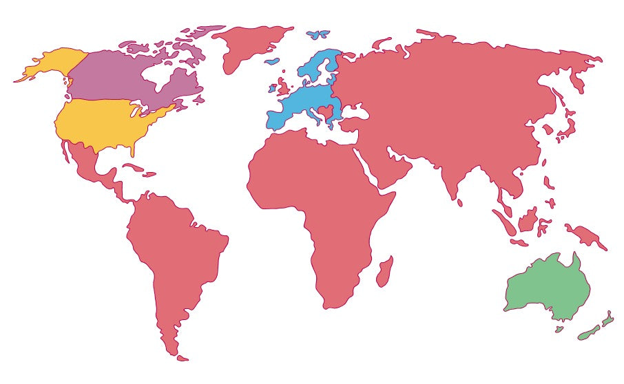 map of the countries we deliver to