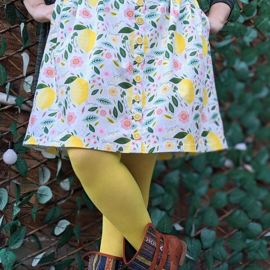 Tights - Opaque Footless Tights - Lemon Sherbet