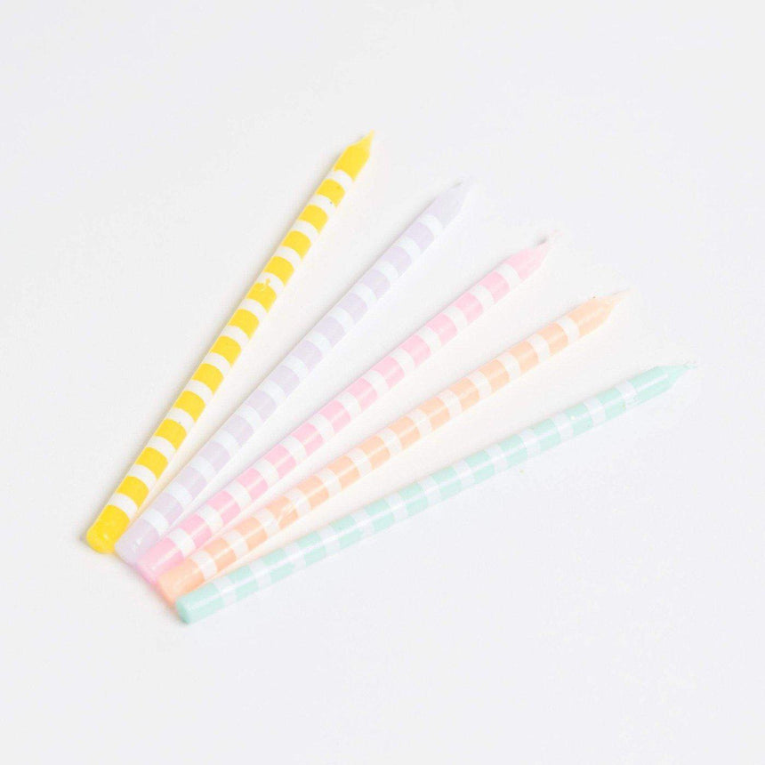 Pastel stripe candles