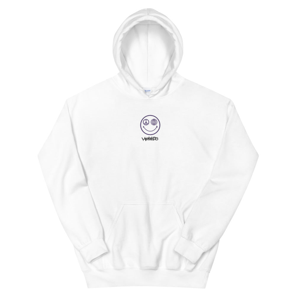 Embroidered Smiley hoodie - White - Marroc