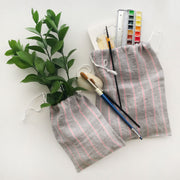 Pink Stripe Linen Pouches /Set of 2