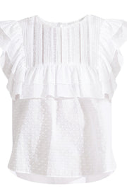 Image of VERONICA BEARD Blaire Ruffle Top front view