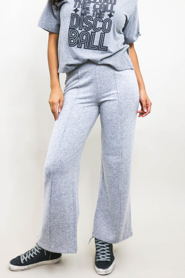 Model wearing Wide Leg Pants front view shoulders down