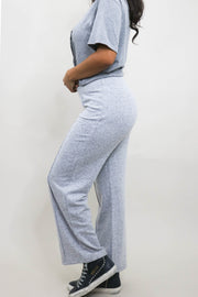 Model wearing Wide Leg Pants side view shoulder down