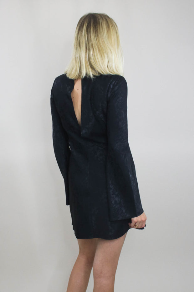 Divine Heritage Mock Neck Short Dress back view