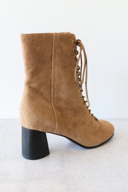 Image of JOIE Reyan Suede Lace up Ankle Boot facing right side for side view