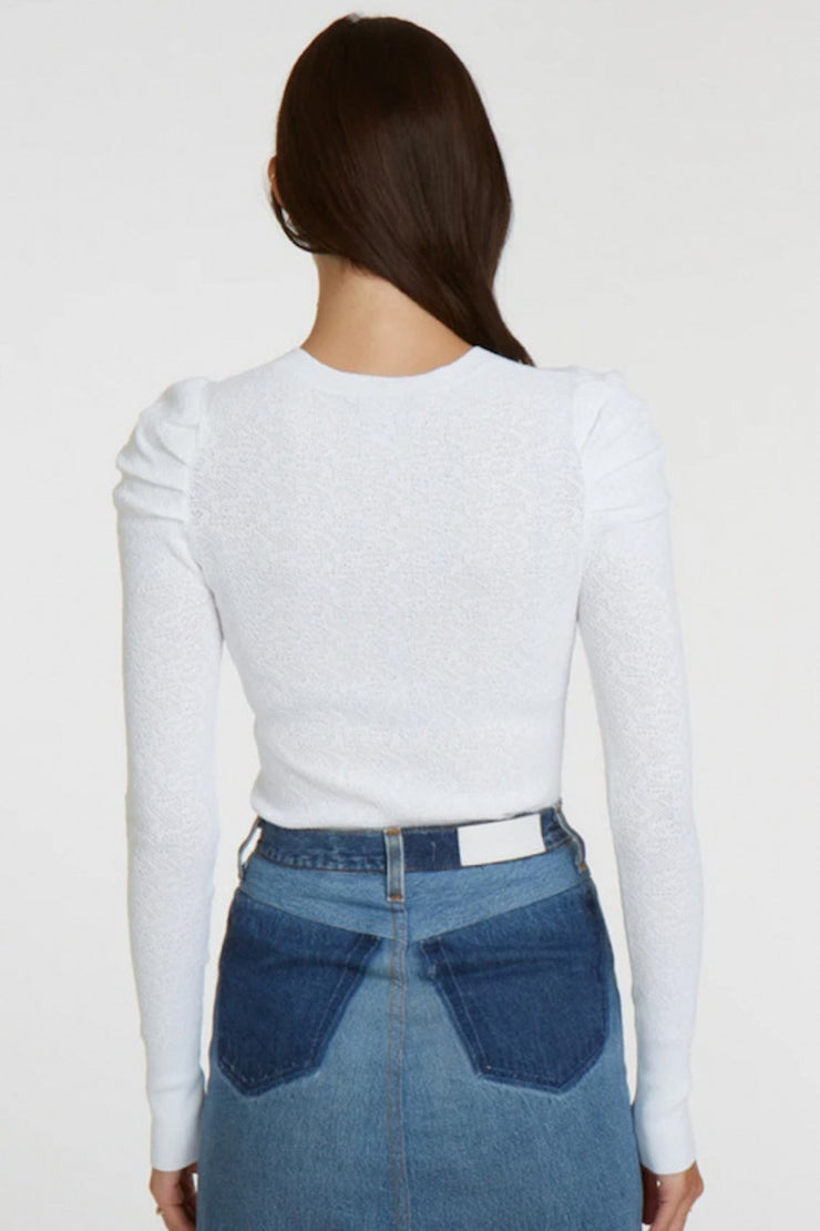 Image of model wearing the AUTUMN CASHMERE L/S Pointelle Puff Sleeve Top, standing infront of white backdrop, back view