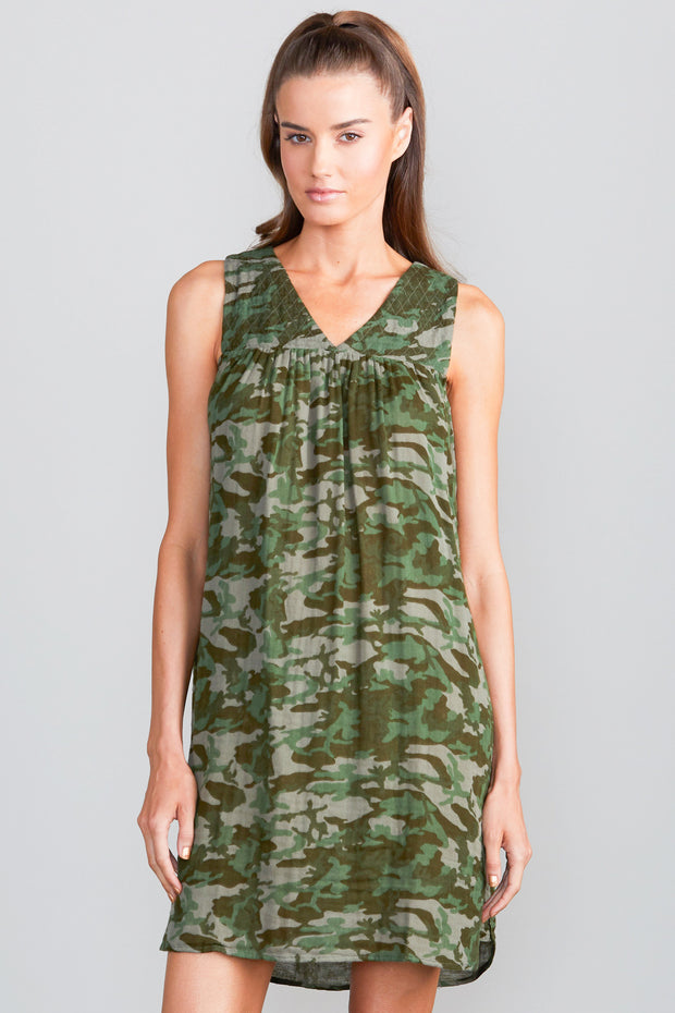 Model wearing Sundays Camo Dress front view