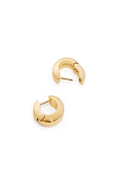 Jennybird Toni hinged earrings in high polish gold on a white background