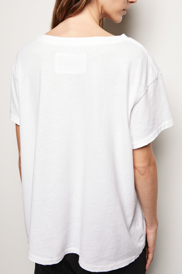 Model wearing Nili Lotan Brady tee in white back view