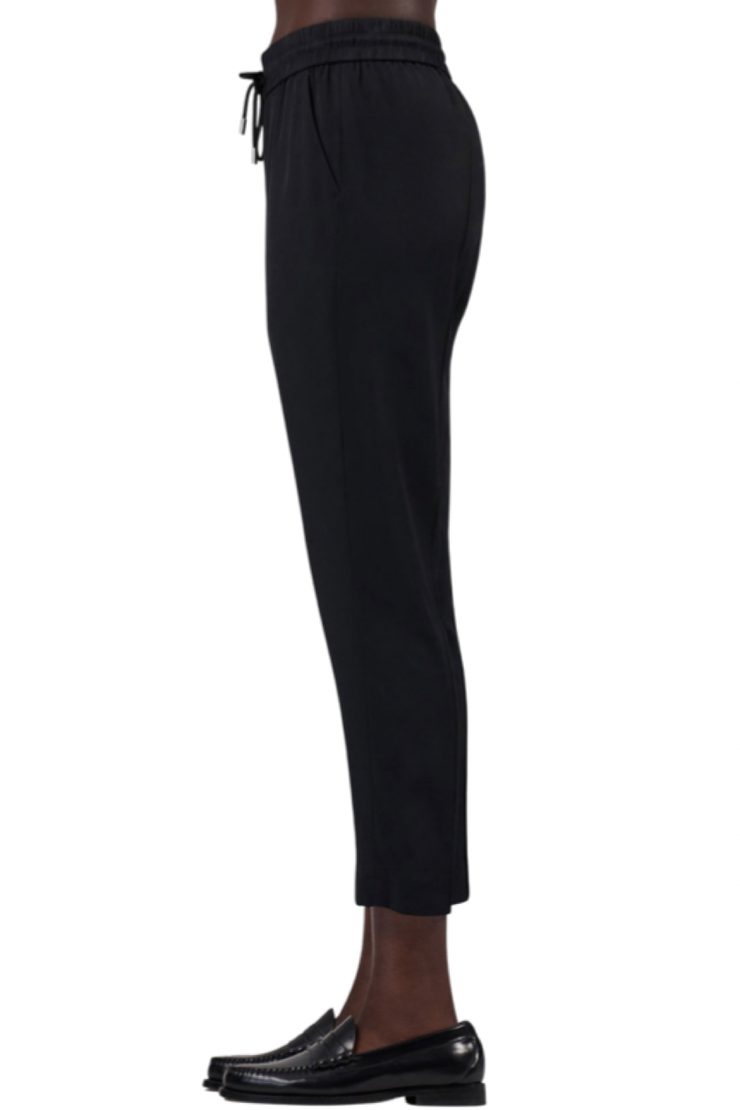 Image of ATM twill pull on cropped pant in black  side view