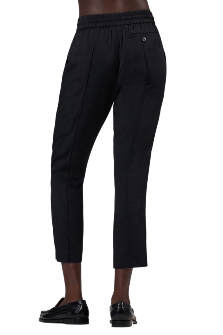 Image of ATM twill pull on cropped pant in black  back view