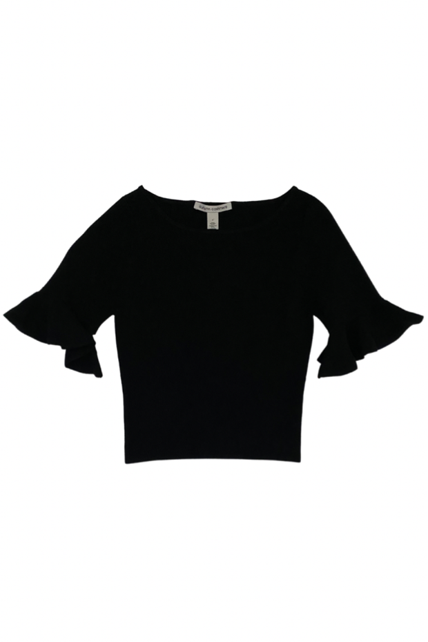 Cropped S/S Ruffle Boatneck