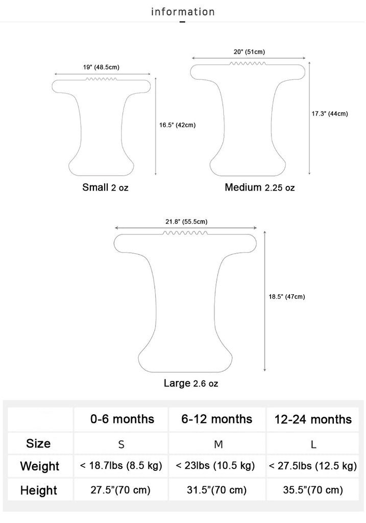 Cloth Diaper Cover Size Chart