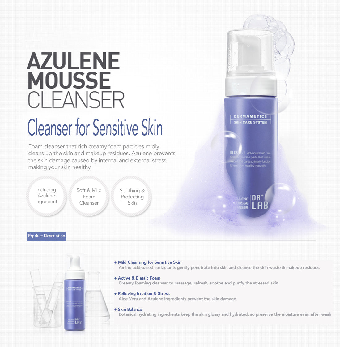 Dr+Lab Azulene Mousse Cleanser Product Description 2