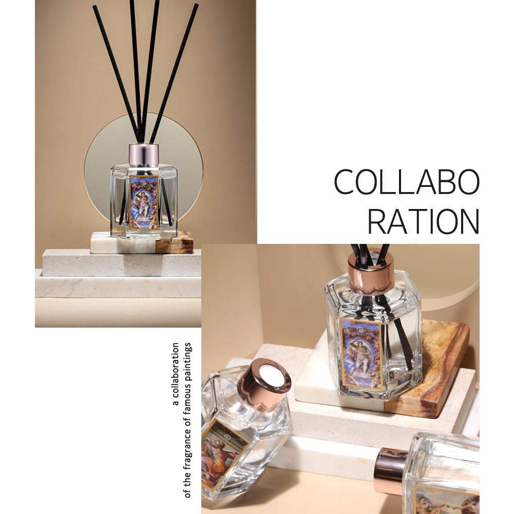 reed diffuser collaboration with famous paintings from Michelangelo