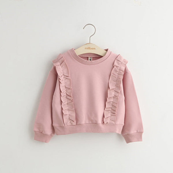 Ruffle Shirring Sweatshirts