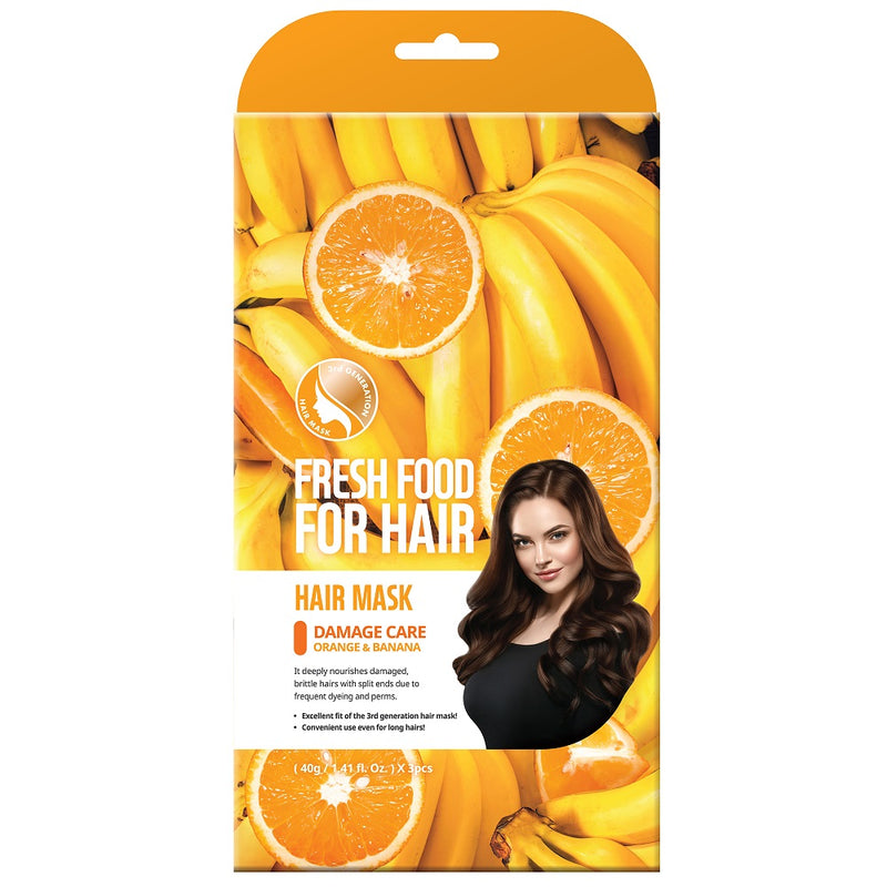 Fresh Food For Hair Mask - Damage Care, Orange & Banana (3 packs)