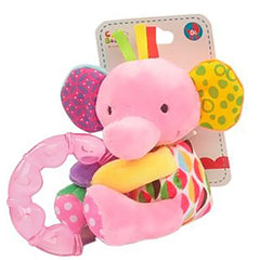 Elephant Plush Rattle with Teether