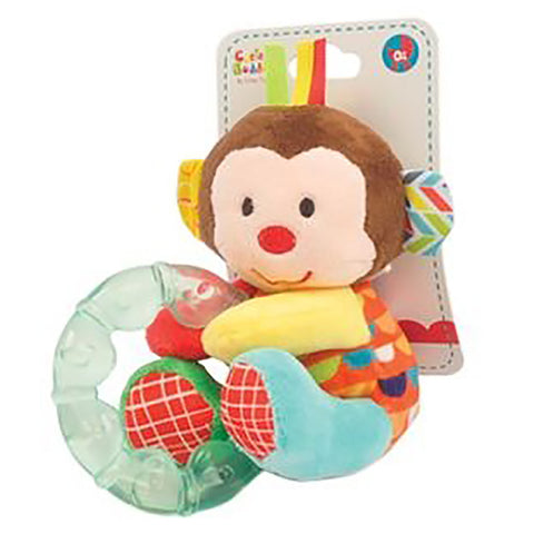 Monkey Plush Rattle with Teether