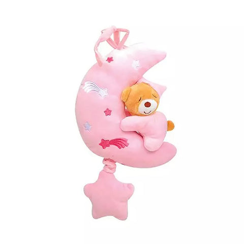Pink Bear On Moon Pull String Musical Plush