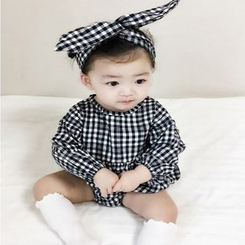 Mono Plaid Romper Set
