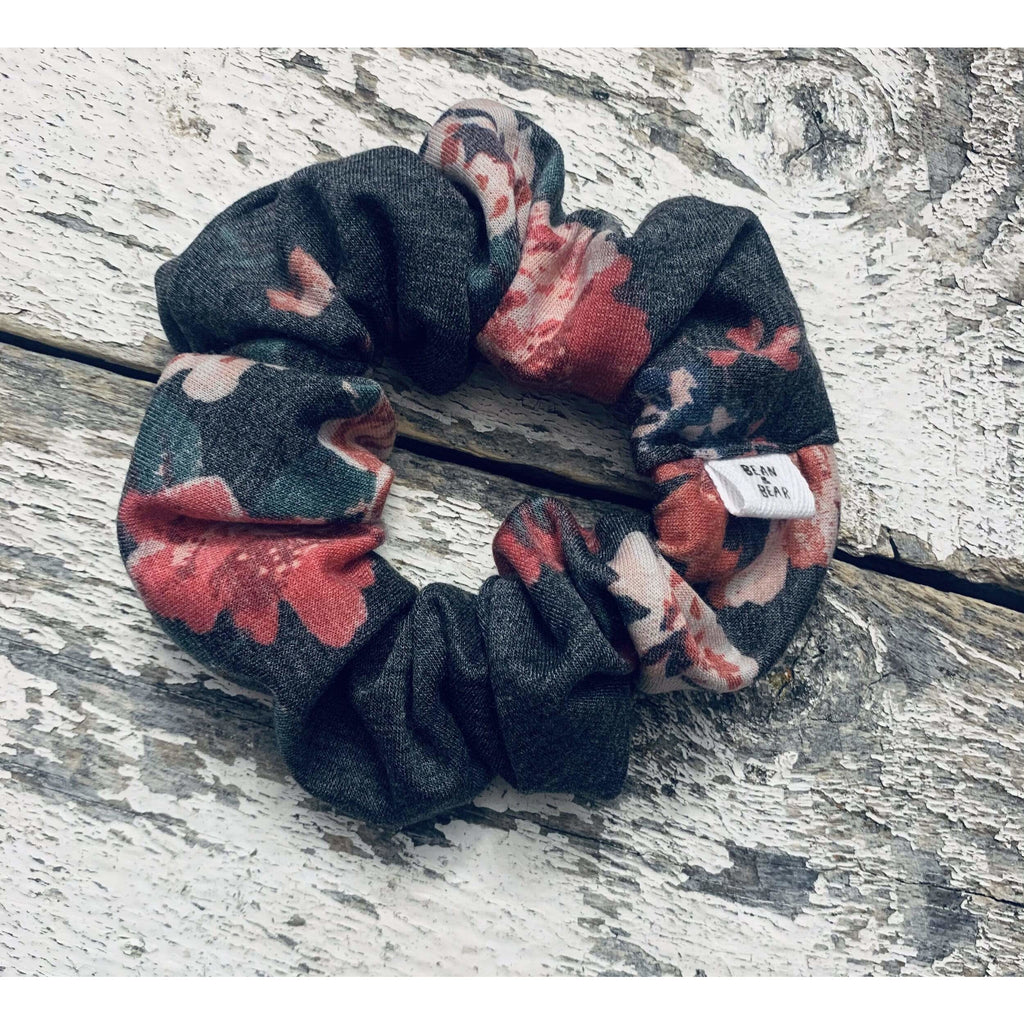 Bean & Bear CHARCOAL / N/S Charcoal Floral Scrunchie