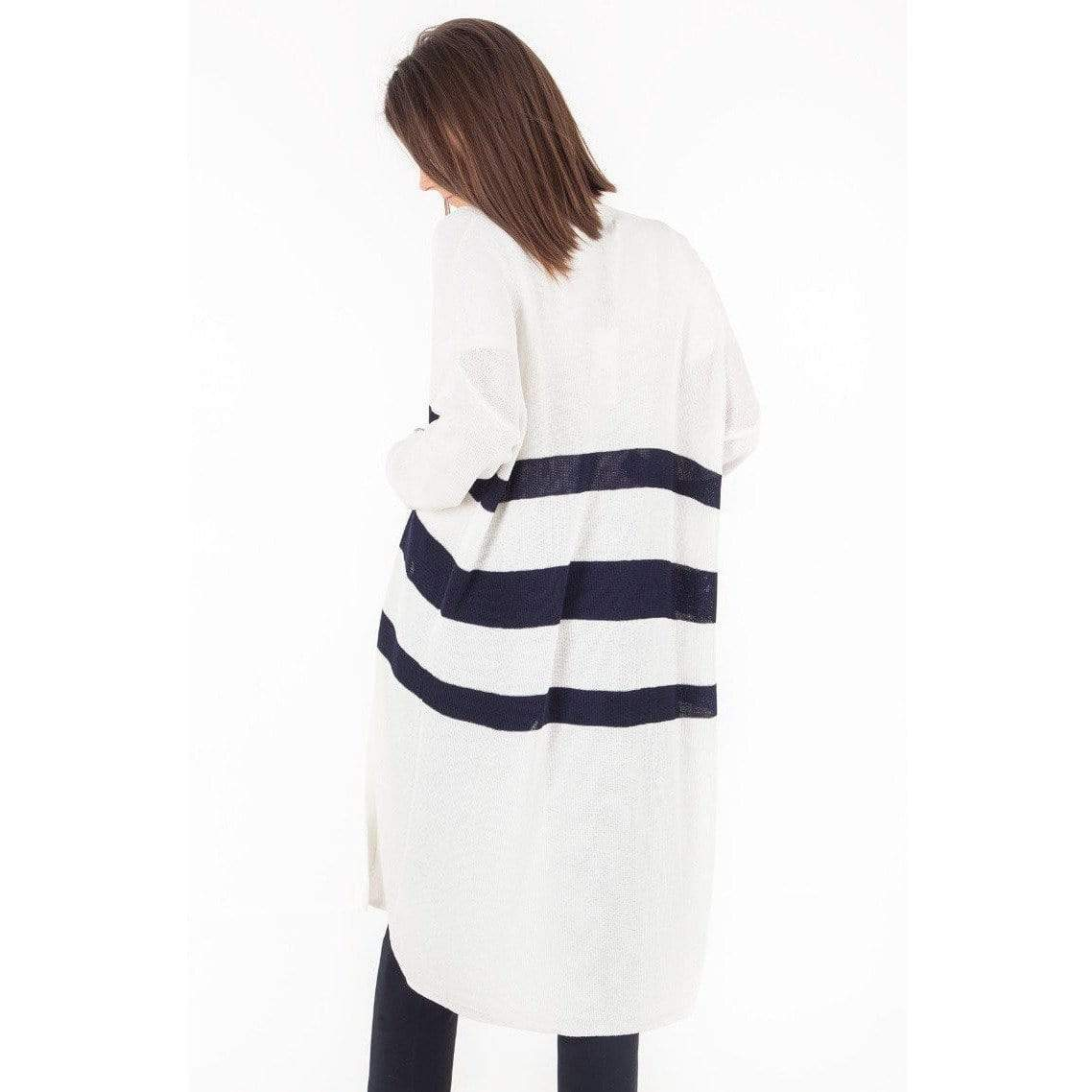 Molly Bracken IVORY / N/S Molly Bracken Nautical Stripe Knit Cardigan