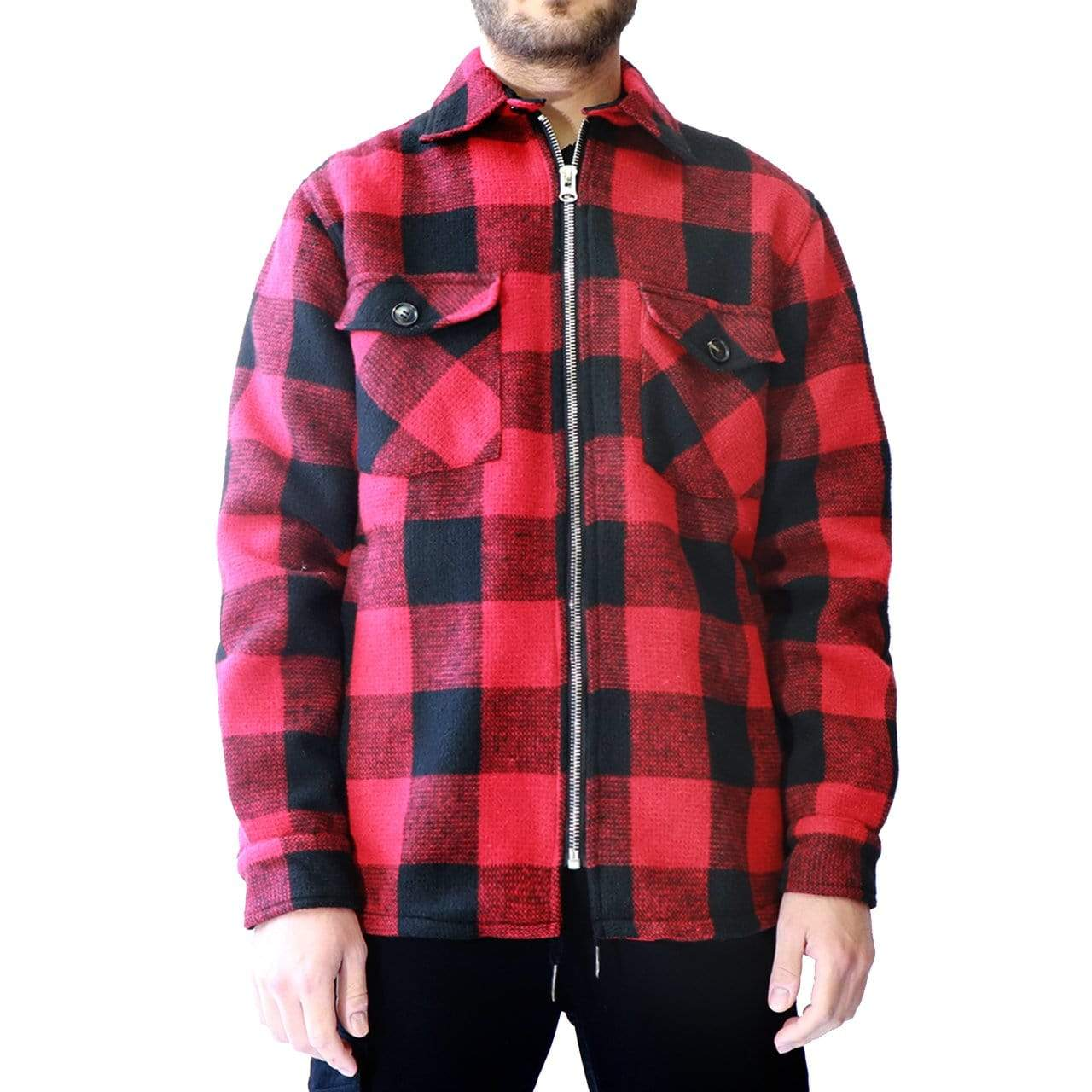 RD International Style Buffalo Plaid Jacket Red