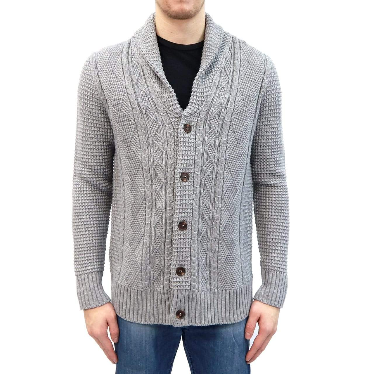 RD International Style GREY / S Cable Knit Cardigan Sweater + more colours