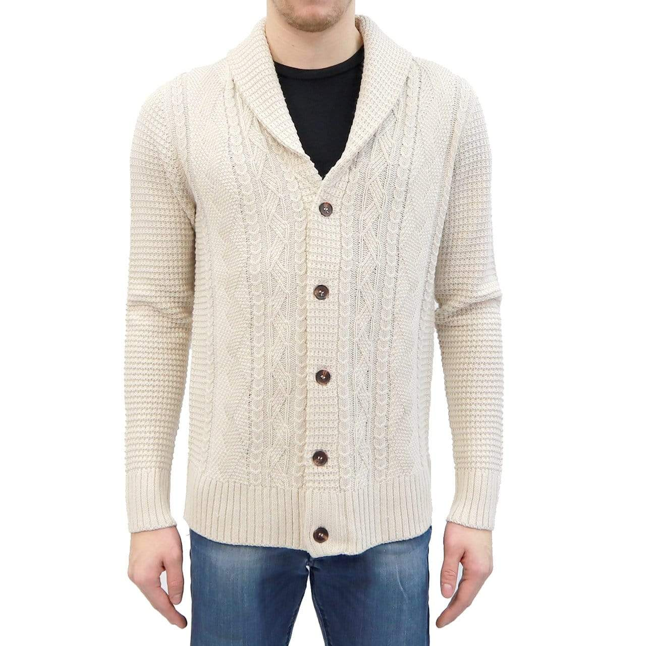 RD International Style IVORY / S Cable Knit Cardigan Sweater + more colours