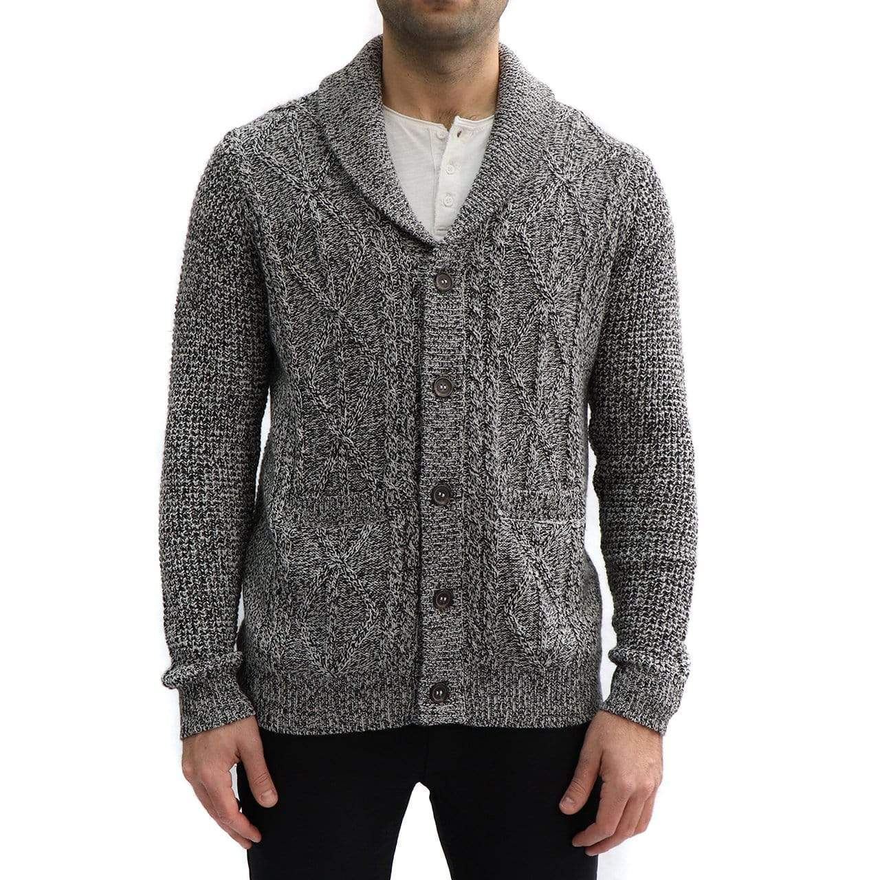 RD International Style BLACK / S Grandfather Cardigan Sweater