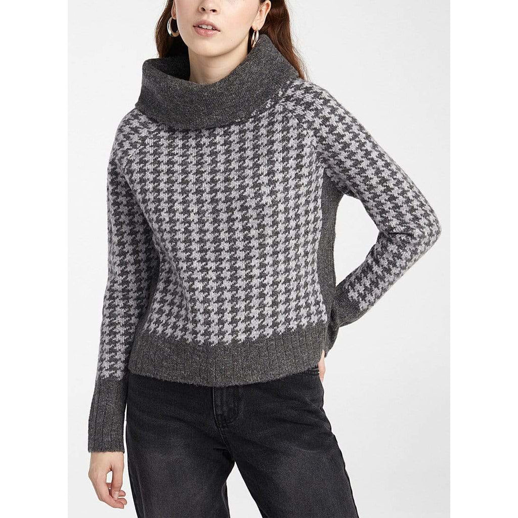 RD International Style Houndstooth Cowl Sweater