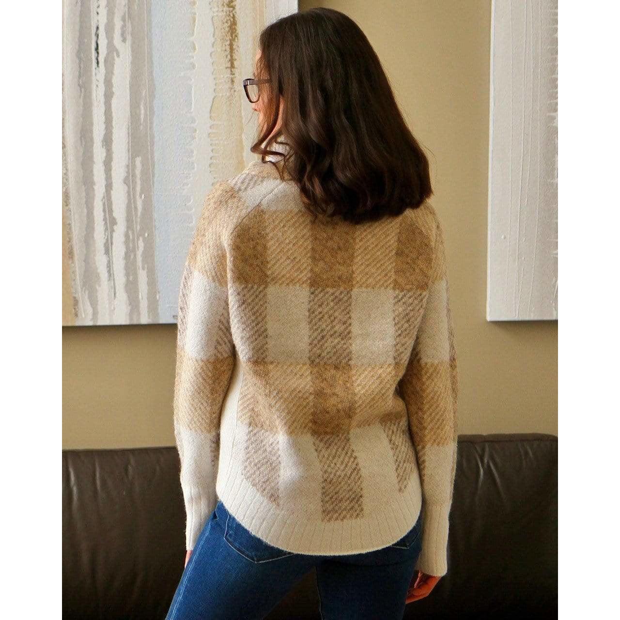 RD International Style Plaid Cowl Sweater