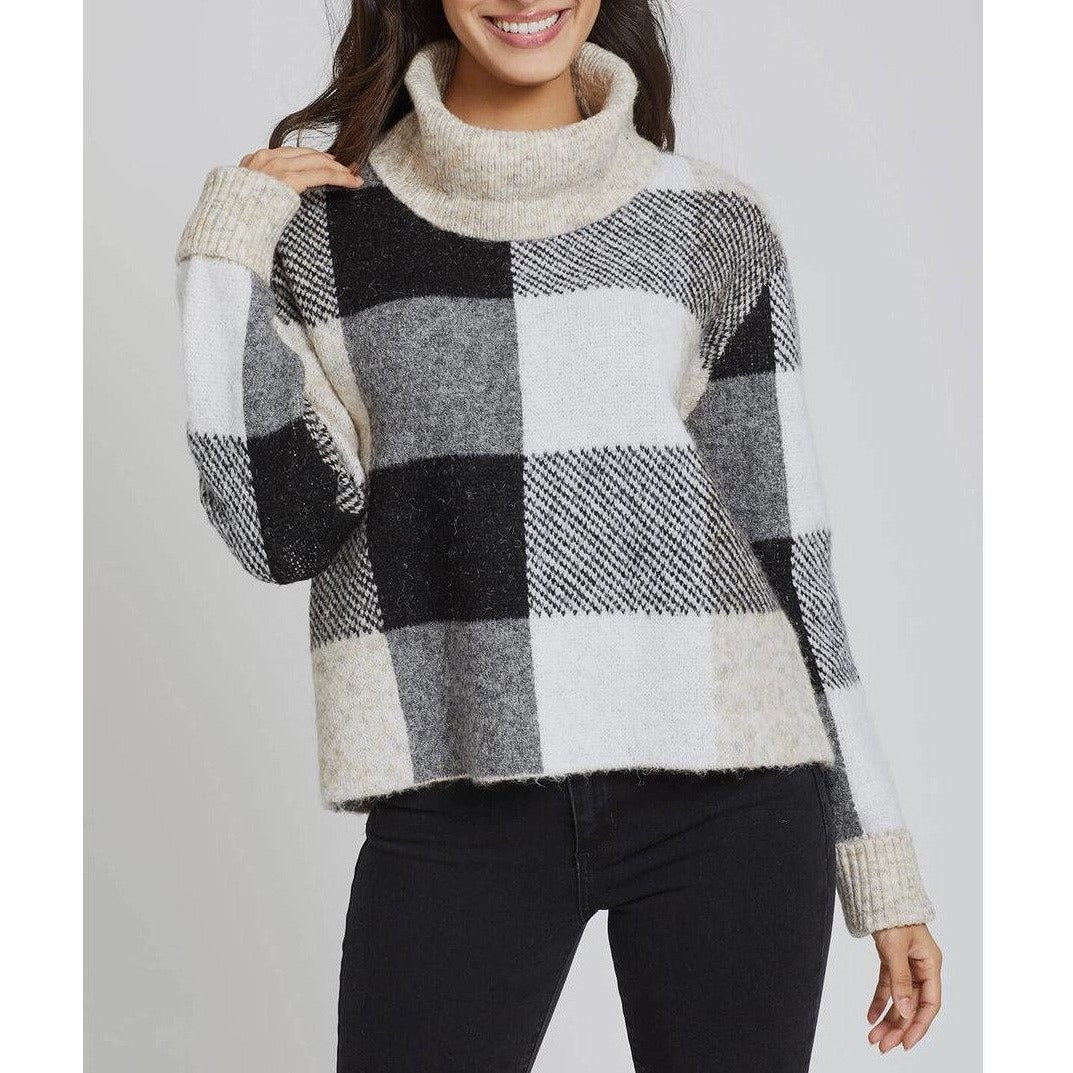 RD International Style Tartan Cowl Sweater